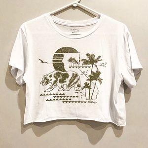 Billabong White & Olive Green CA Crop T-Shirt M